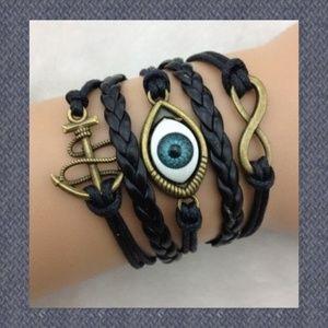 Evil Eye Anchor Infinity Leather Charm Bracelet